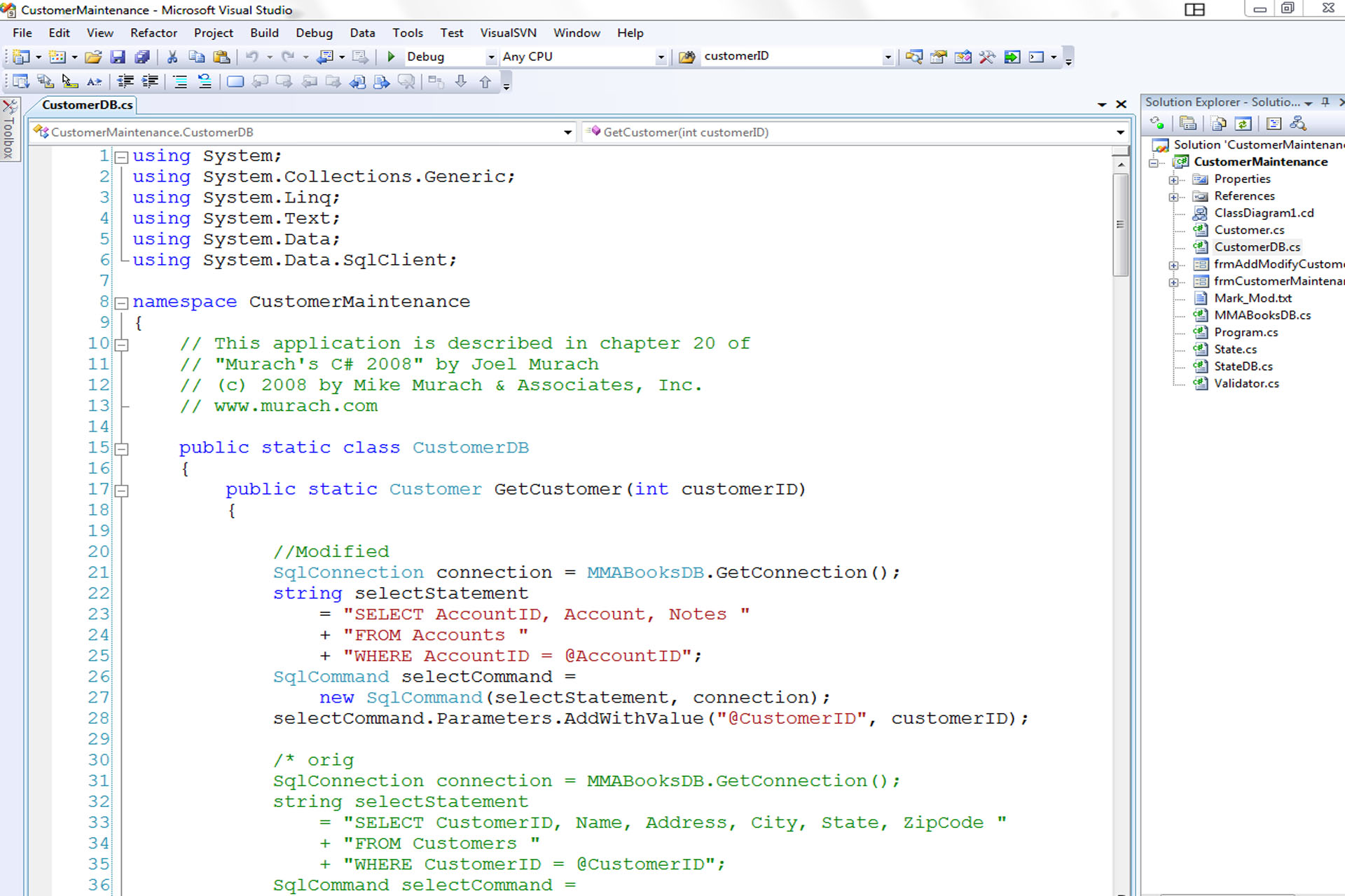 Current C# Project: Database Front-End - Mark H  Peterson
